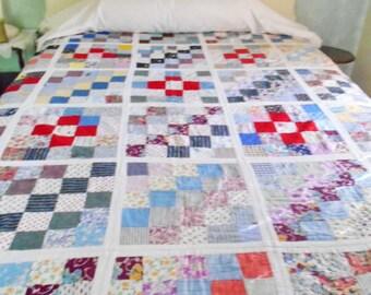 Sale Vintage Quilt Patchwork Reverses To Floral Print