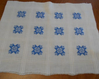Vintage Pillow Cover to Finish Cross Stitch Snowflakes Blue