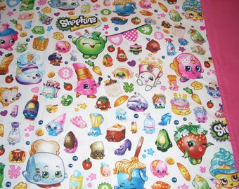Shopkins on white Pillowcase with pink trim - Fits Standard and Queen size pillows