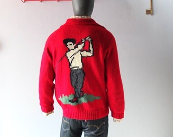 Vintage Men's Red Wool Hand Knit Intarsia Cardigan w/ Golf Motif - sz Large to XL - Palm Beach 1960s Retro Cool - Mens All Year Sweater