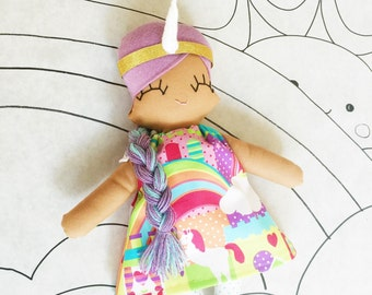 Eunice Unicorn Girl Rag Doll - MADE TO ORDER