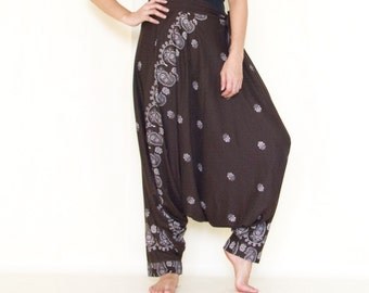 All Around The World...Printed Rayon Harem Pants Dark Brown Boho Pants/Gypsy Pants/Aladdin Pants/Genie Pants/Yoga Pants /Thai Pants