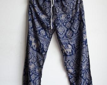 Navy Blue Elephant Printed Rayon Harem Pants /Gypsy Pants/Aladdin Pants/Genie Pants/Yoga Pants /Thai Pants