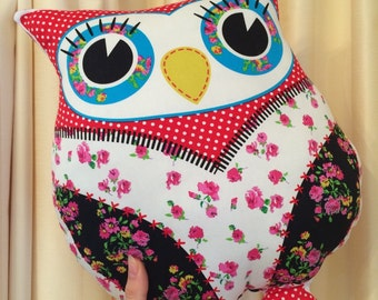 Handmade Pink Floral Print Owl Shaped Decorative Cushion Soft Toy Pillow