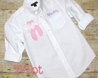 Dance Recital Cover Up Oversized Monogram Buttom Up Shirt - Ballet Shoes - Dance Revue Review Gift Pointe Shoes Slippers Over Sized Wedding