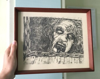 The  Evil Dead - Original Framed Drawing by Aiyana Udesen