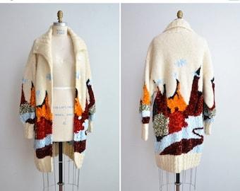 50% OFF SALE / SALE / Vintage 1980s art knit sweater coat