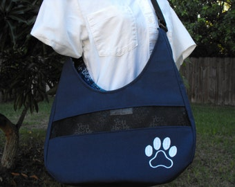 "Hobo , Crossbody, Shoulder Style Pet Carrier""You had me at Woof"" READY TO SHIP"
