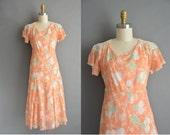 30s peach floral art deco vintage dress / vintage 1930s dress