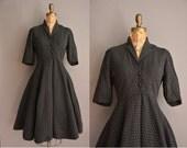 50s black grosgrain white dot print vintage dress / vintage 1950s dress