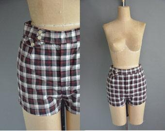 50s Jantzen cotton plaid vintage swim shorts / vintage 1950s swimsuit