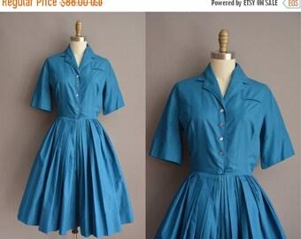 25% off SHOP SALE... 50s blue cotton Texas vintage shirt dress / vintage 1950s dress