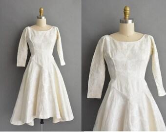 vintage 1950s dress / 50s Jonny Herbert rose floral ivory vintage dress
