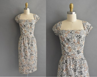 vintage 1950s dress / 50s gray and golden brown abstract cotton vintage wiggle dress