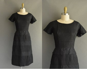 vintage 1950s dress / 50s black silk cotton vintage pintuck dress