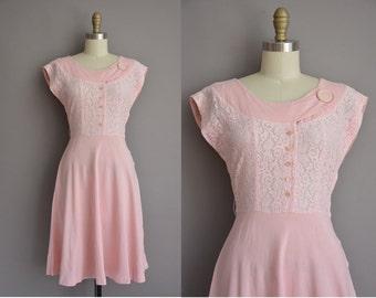50s pink cotton linen lace vintage dress / vintage 1950s dress