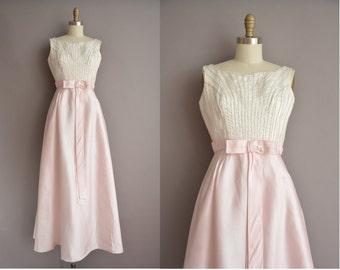 50s pink satin iridescent sequin full length vintage party dress / vintage 1950s dress
