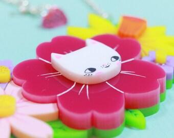 Floral Cat Necklace / Cat Necklace