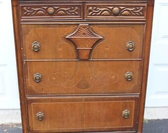 Vintage Antique Wood Dresser Ornate Carved Front