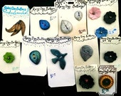 Large Lot DISCOUNTED Handmade Buttons  Rainy Day Buttons De-Stash - Nature - Leaves and Flowers