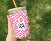 Coffee Cozy - Pink Aztec