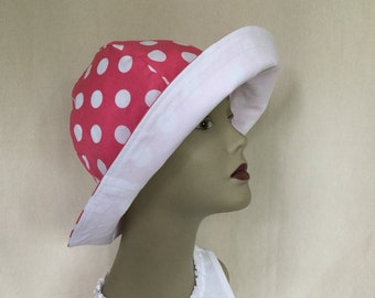 Ladies Sun Hat, Floppy Hat, Gardening Hat, Big Brim Hat, Easy Packing Hat, Polka Dot Hat, Sun Hat, Ladies Beach Hat, Pink Sun Hat, White Hat
