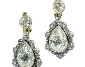 Summer Sale Antique pear shaped diamond drop earrings Victorian jewelry