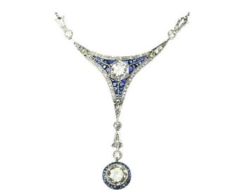 Valentines Sales Sapphire Diamond Pendant Necklace yellow gold old 18kt European cut diamonds 1.50ct blue carre cut sapphires Art Deco circa