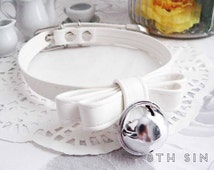 White Leather Bow and Bell Choker, White Bow and Bell Choker, White Bow Choker, White Bell Choker, Cat Bell Choker, Kitten Play Collar