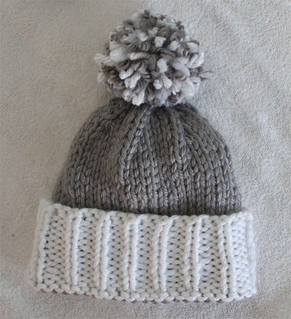 Knit Pom Pom Hat Pattern : Hat Knitting Pattern Colorblock Beanie Pom Hat by ...