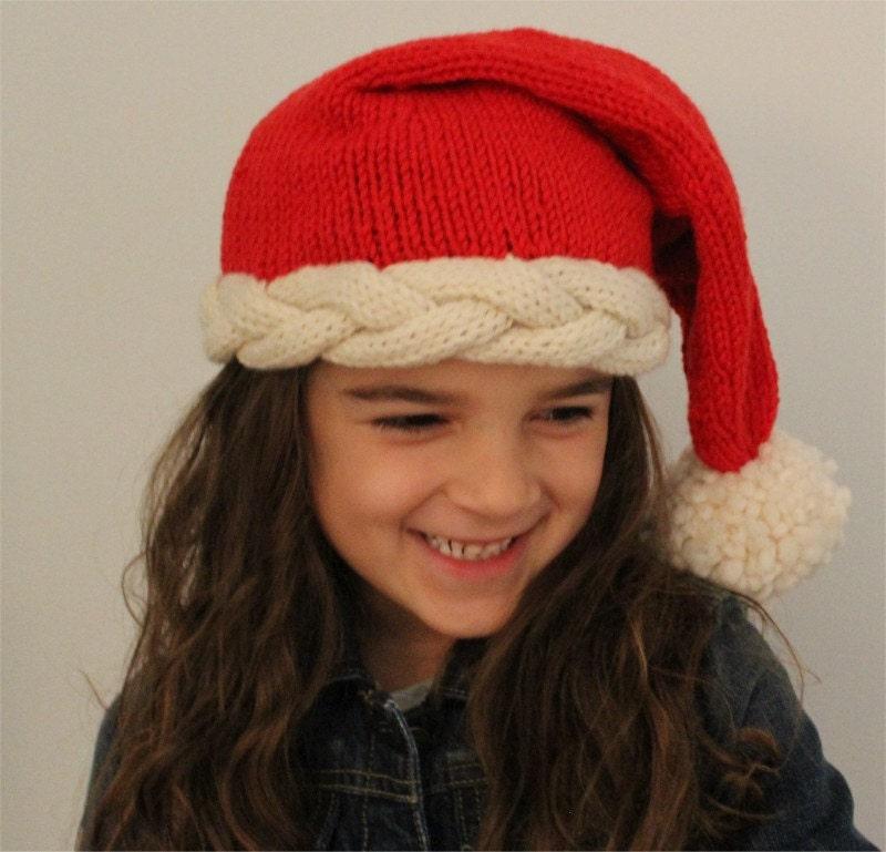 Knitted Stocking Hat Pattern : HAT KNITTING PATTERN Santa Stocking Hat by theknittingniche