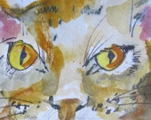 Big Cat aceo original watercolor painting miniature art animal Art by Delilah