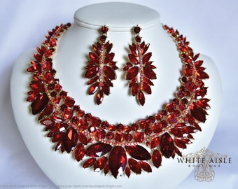 Red Wedding Jewelry Set, Crystal Statement Necklace, Bridal Jewelry Set, Vintage Inspired Bridal Necklace, Bridal Earrings