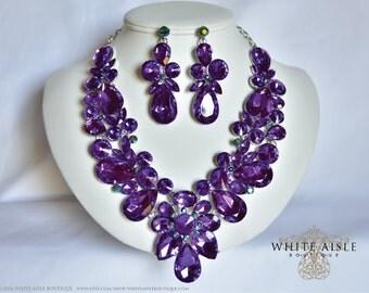 Purple Wedding Jewelry Set, Vintage Inspired Necklace, Rhinestone Necklace, Crystal Bridal Necklace, Bridal Jewelry Set, Statement Necklace