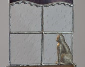 Stained Glass Kitty, Window, Purple Curtain, Rainy Day Blues, Hand-cast Kitty, Suncatcher