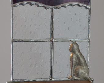 Stained Glass Kitty, Window, Purple Curtain, Rainy Day Blues, Hand-cast Kitty, Suncatcher
