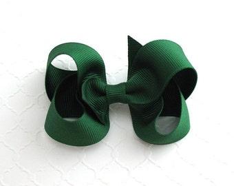 """3"""" Forest Green Hair Bow ~ Christmas Hair Bow ~ Baby / Toddler Hair Bows ~ School Uniform Hair Bows ~ Classic Girls Hair Bows"""