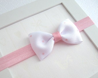 Baby Headband, Newborn Baby Headband, Pink Bow Headband, White & Pink Polka Dot Baby Headband, Simple Baby Headband, Infant Preemie Headband