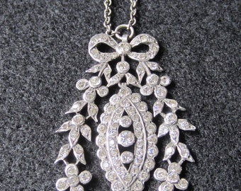 REDUCED Art Deco French Continental Silver and Diamond Paste Necklace