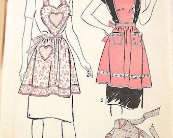 ON SALE Vintage 40s Apron Pattern - Advance 3920 - Misses' Bib Aprons and Half Apron - SZ Small 10/12