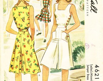 Vintage 1940s Playsuit Pattern - McCall 4621 - Misses' Culotte Jumper Dress with Side-Button Closure - SZ 16/Bust 34