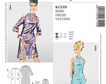 Misses' Retro 60's Mod Style A-Line Dress in Two Variations - Vintage 60's Reissued Pattern - Sz 10 thru 18 - Burda Style 7114
