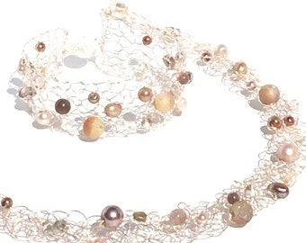 Rose Gold Necklace Druzy Jewelry Beaded Choker Collar Delicate Choker Blush Jewelry Crystal Necklace blush necklace blush wedding