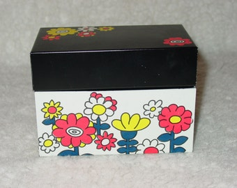 Vintage 1970s Ohio Arts Index File Card File Recipe Box Flower Power Funky Flowers Floral