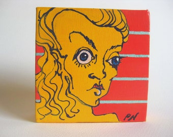Cartoon pop character acrylic painting in coral, yellow, turquoise