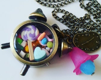 Alarm clock, Bronze,  sweets, candy, miniature,  long necklace, clock necklace, flower, by NewellsJewels on etsy