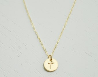 Gold Cross Necklace - small gold disc charm hand stamped on dainty gold filled chain handmade simple everyday jewelry