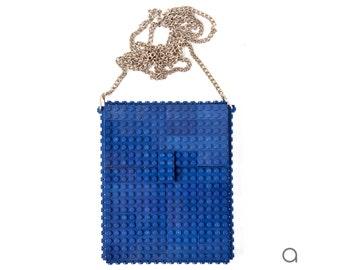 Dark blue hip clutch on a chain made entirely with LEGO® bricks FREE SHIPPING crossbody purse handbag