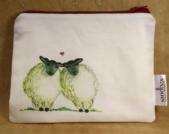 NEW! Two Ewes Sheep Heart Print Clutch Bag Zippered Pouch or Cosmetic Toiletry Bag - Sandbox Original Print