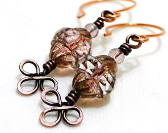 Handcrafted Jewelry, Light Pink Turbine Bead, Wire Wrapped Earrings, Copper Wire, Celtic Knot Earrings